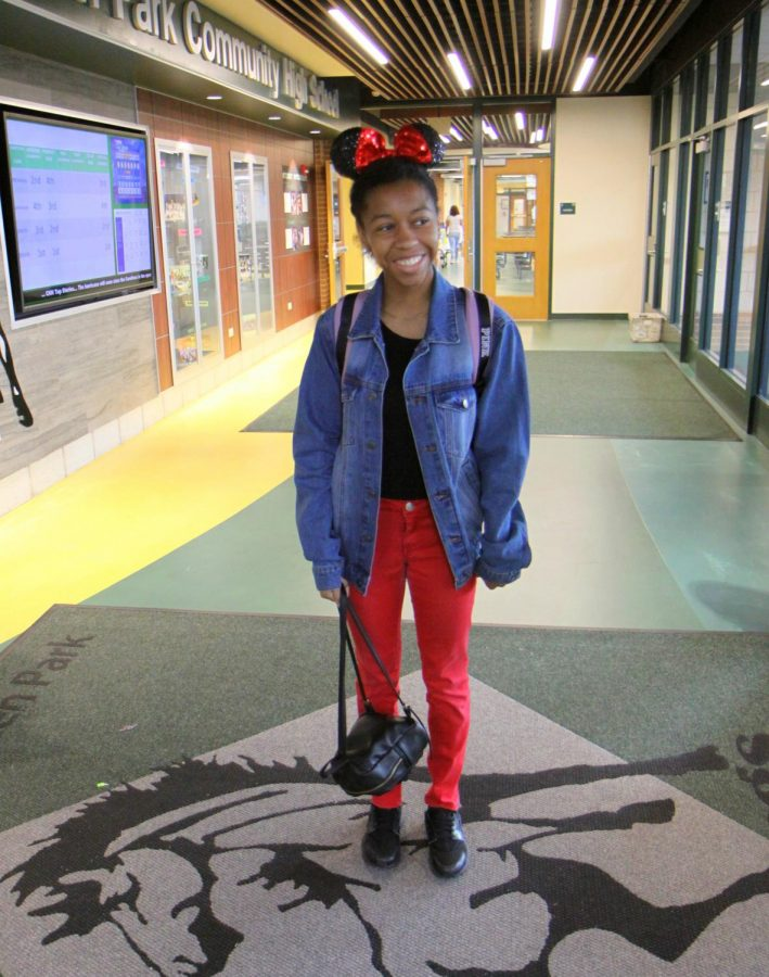 Neema Griffin showing off her Minnie Mouse Ears for character day.