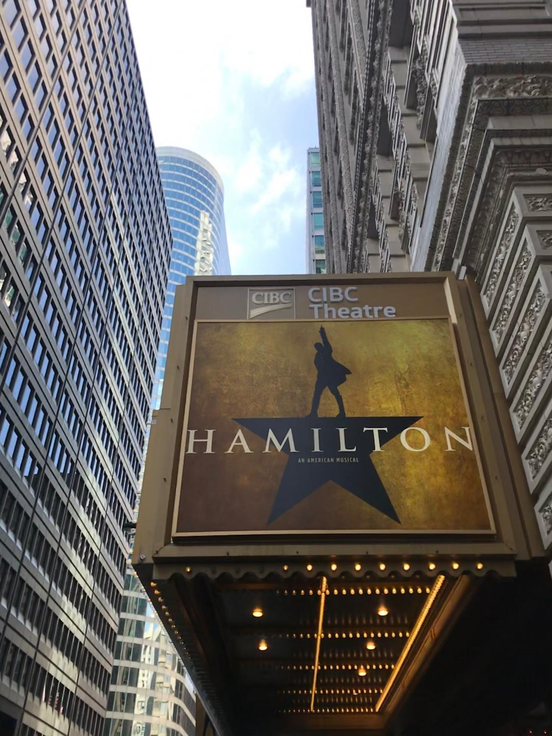 The billboard outside of the Hamilton Show in Downtown Chicago.